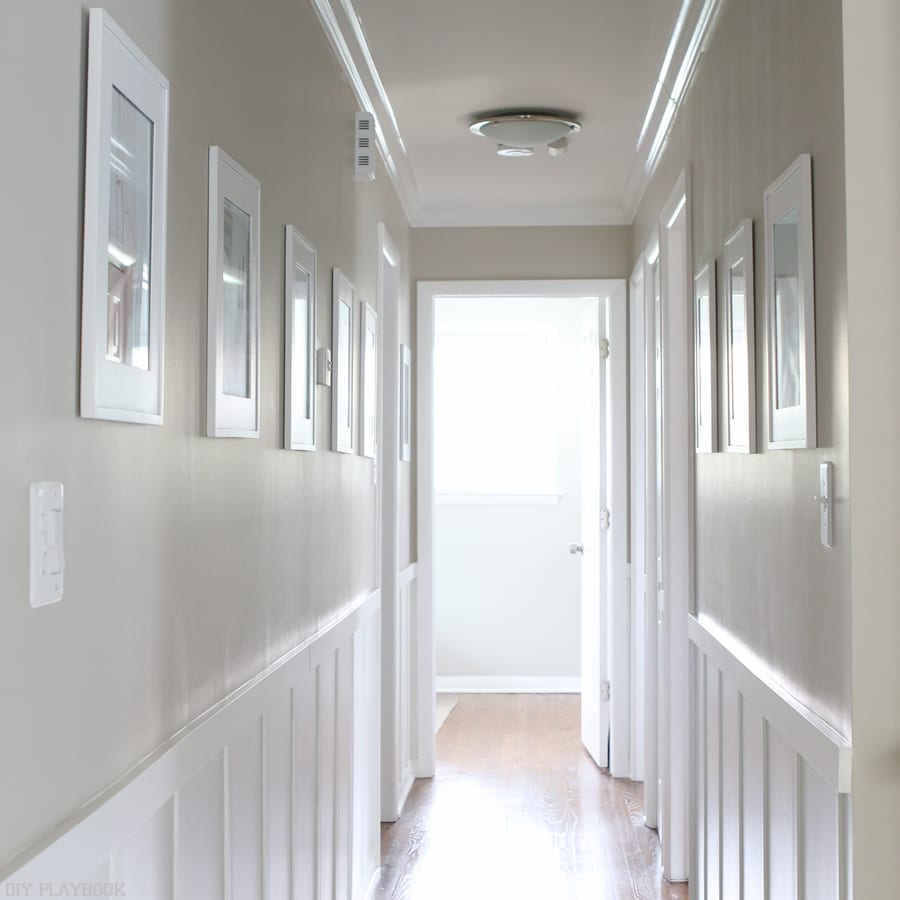 Continuing the small house home tour with the board and batten hallway. Love this classic look.