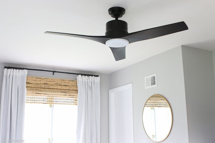 An updated, sleek and modern ceiling fan is a great accent