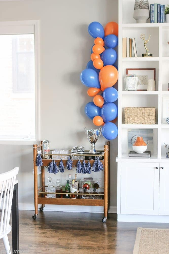 We got balloons in orange and blue to decorate for our Chicago Bears ultimate football party.