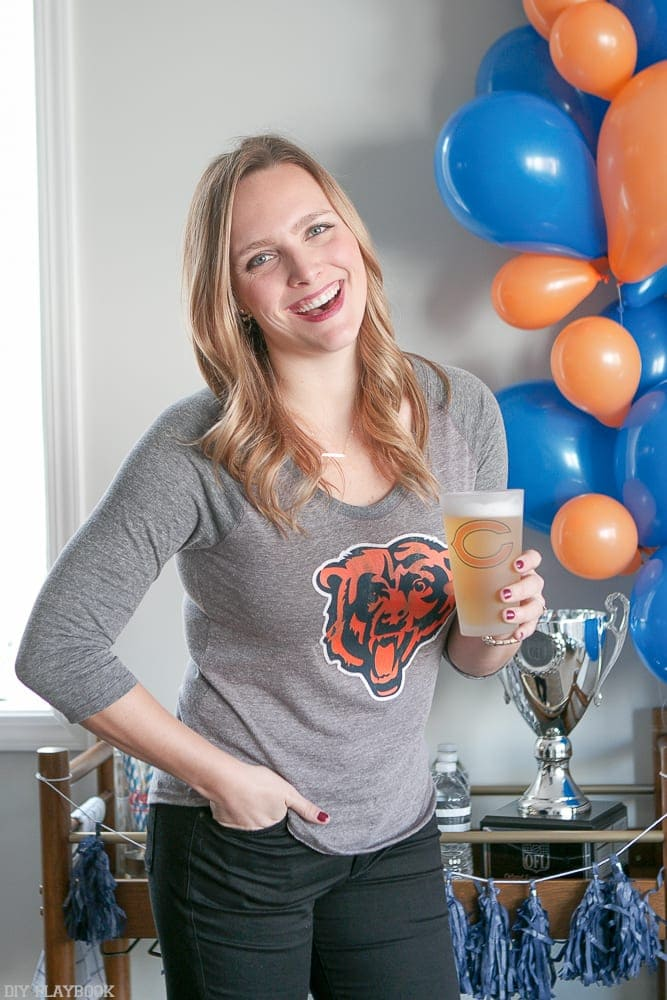 Festive Casey at our Super Bowl party.