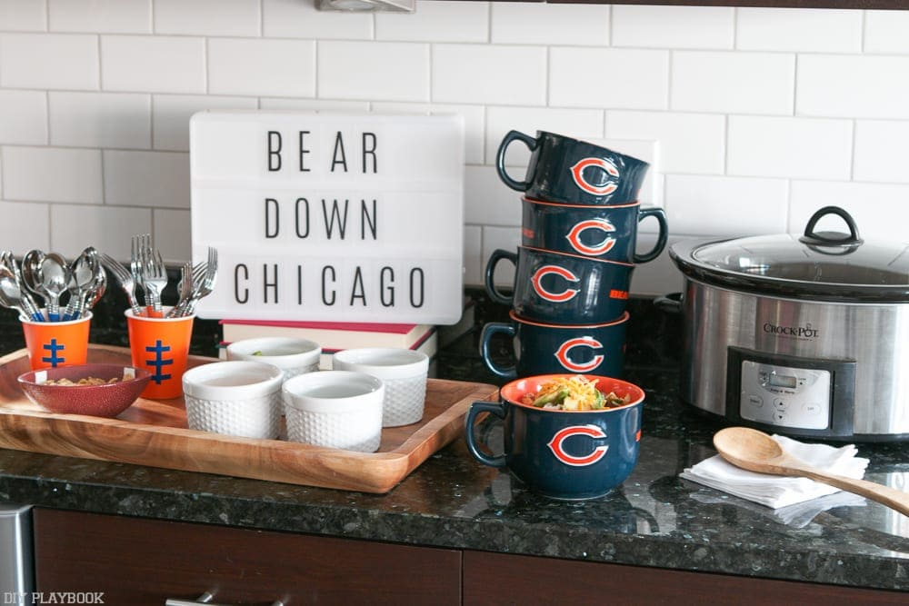 Decorate your chili bar with your teams gear! We chose these awesome Chicago Bear mugs for our chili.
