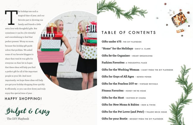 Holiday Gift Guide Table of Contents | DIY playbook
