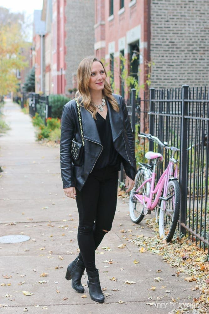"Casey loves the way her sparkly statement necklace takes this all black outfit from ""ninja"" to weekend casual."