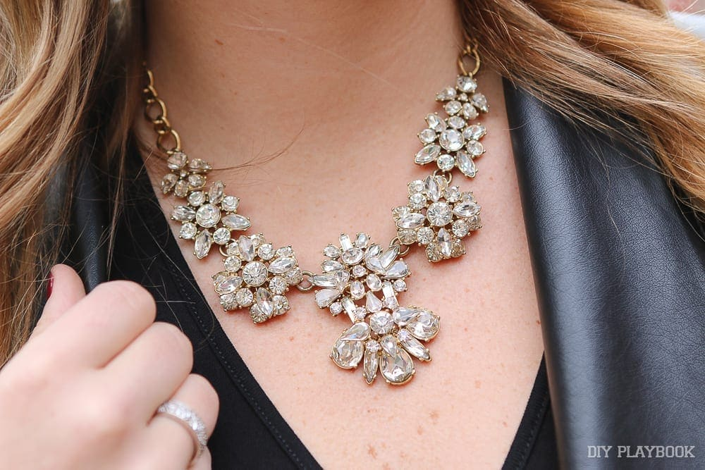 Here's a closeup of Casey's sparkly statement necklace.