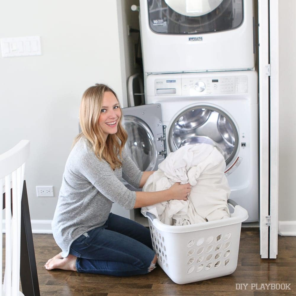 The stackable is really handy: DIY Door Installation for Our Laundry Room | DIY Playbook