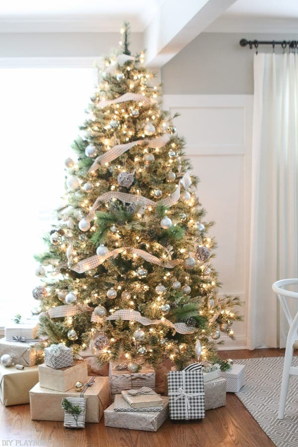 Christmas Tree Setup Instructions : A neutral metallic buffalo check christmas tree