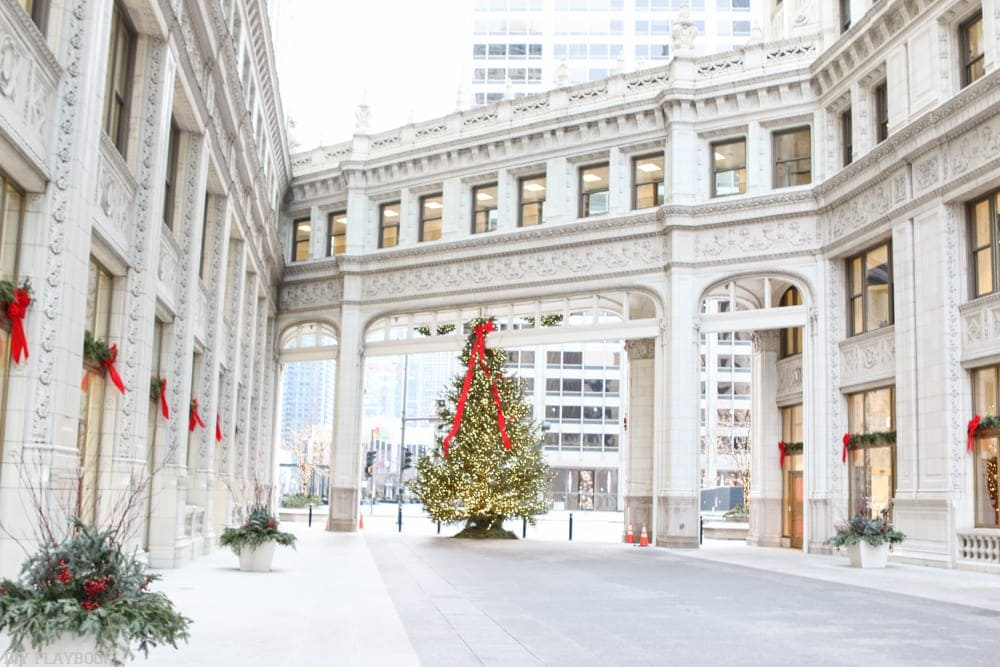 Christmas trees by the Wrigley building downtown