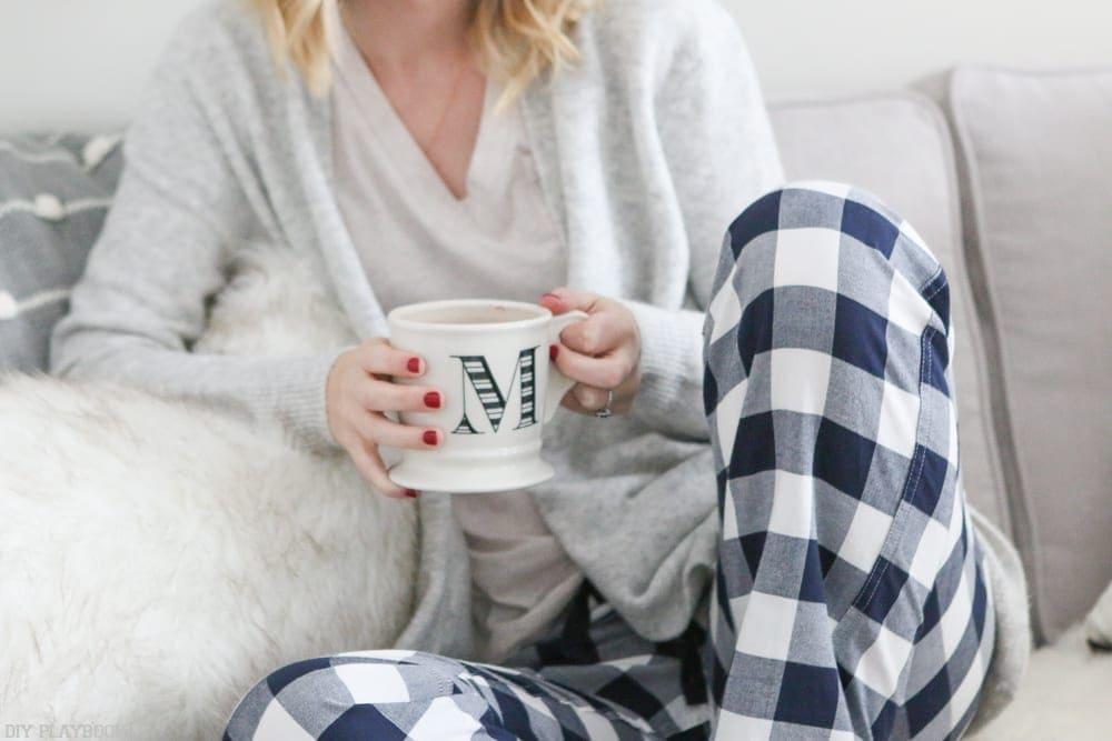 buffalo-check-pajama-pants-coffee-mug