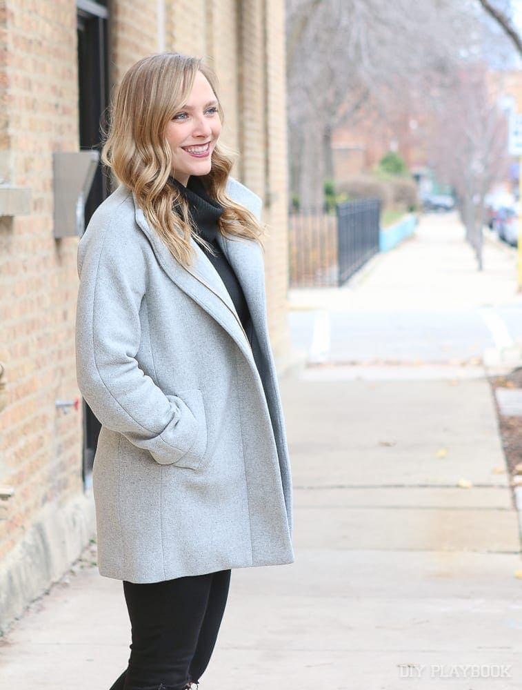 This wool gray winter coat is classic and trendy.