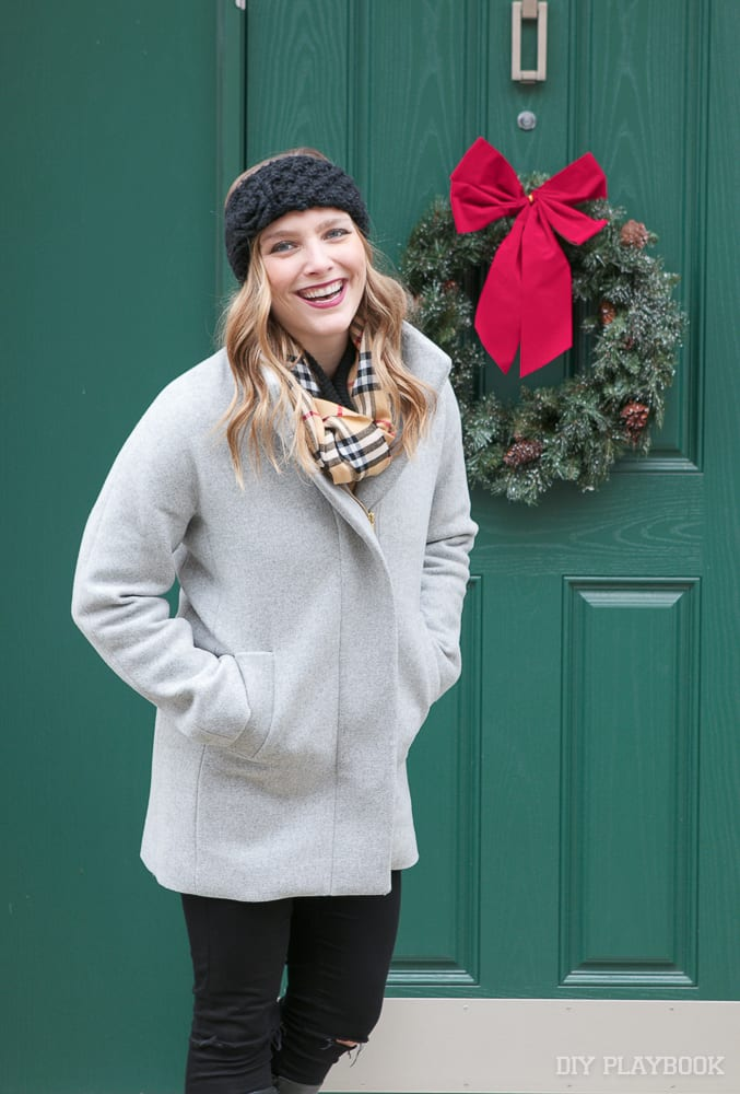 This wool coat doesn't have a hood but looks awesome with a winter headband.