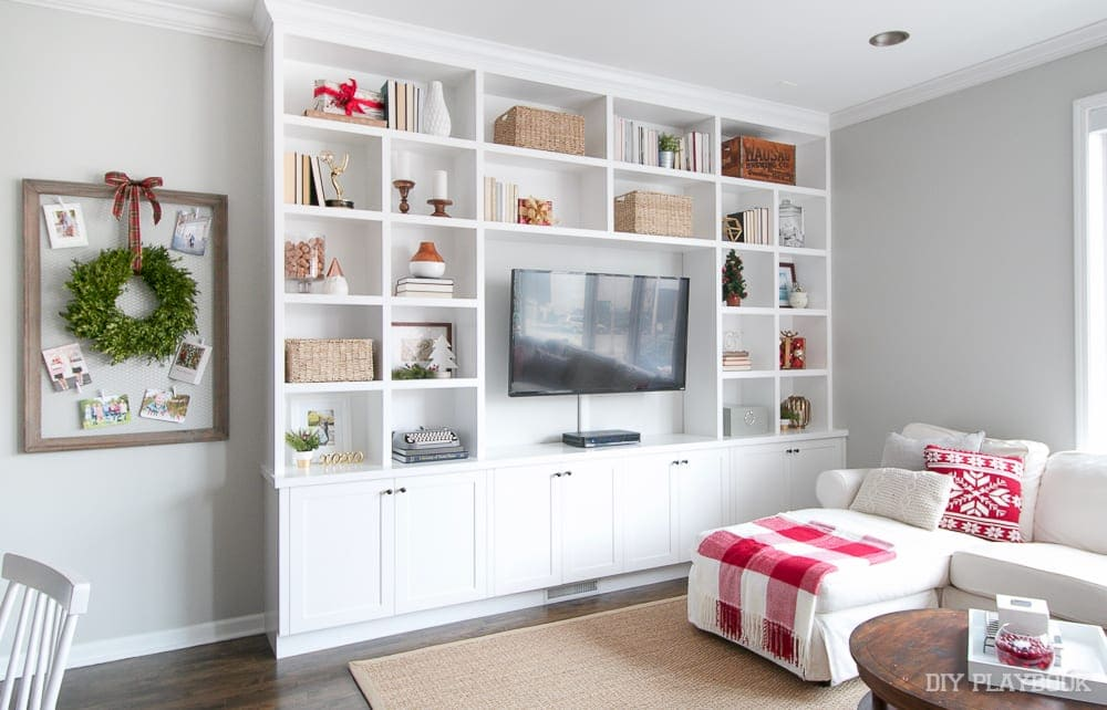 How To Decorate Your Built In Shelves For The Holiday Season