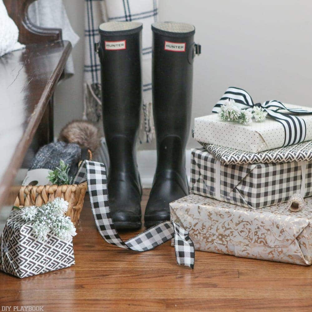 Black and white gifts with hunter boots