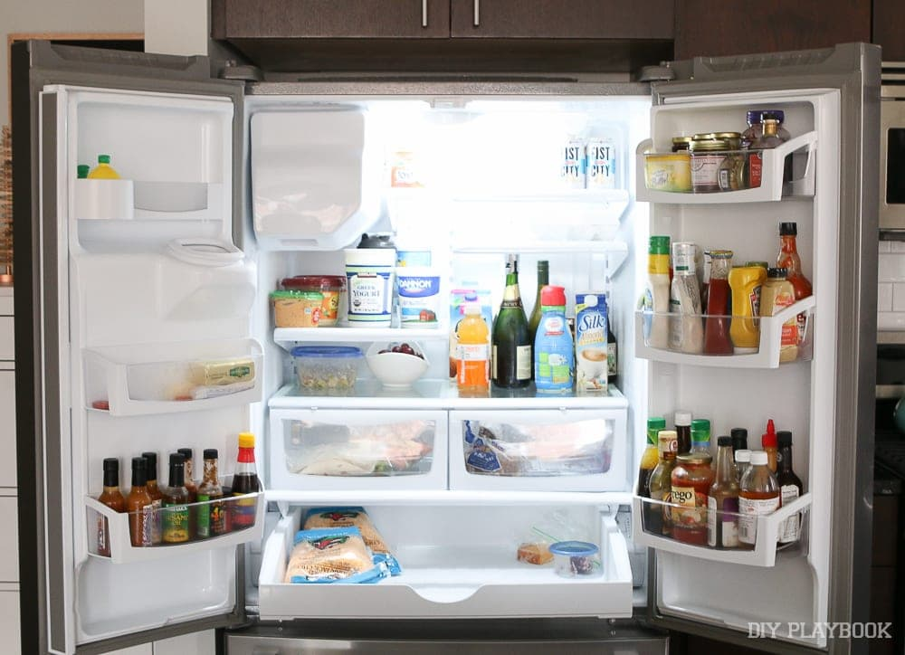 This Maytag fridge is a lifesaver - it holds so much food! I love the french doors also.