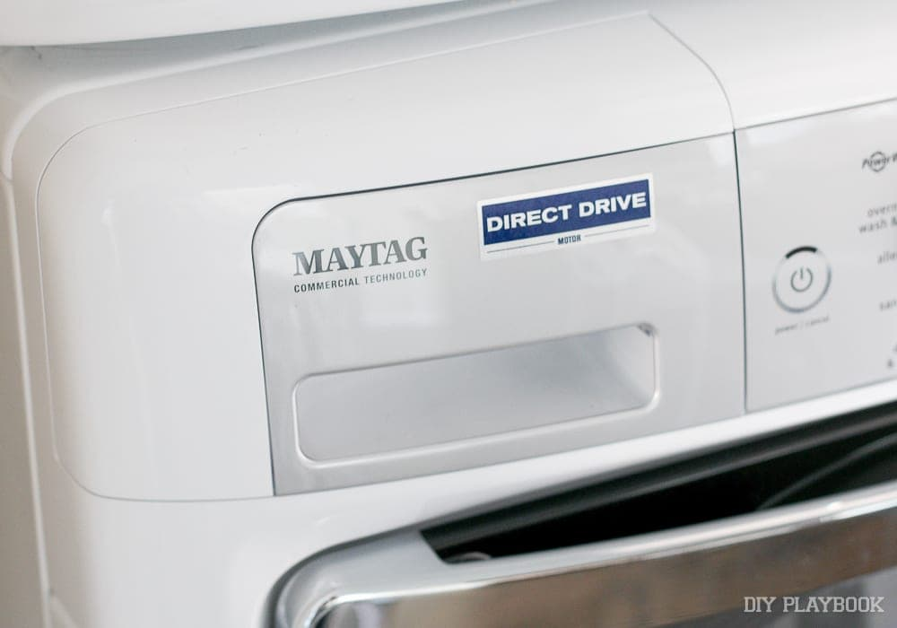 This maytag washer and dryer work really well for our space: DIY Door Installation for Our Laundry Room | DIY Playbook