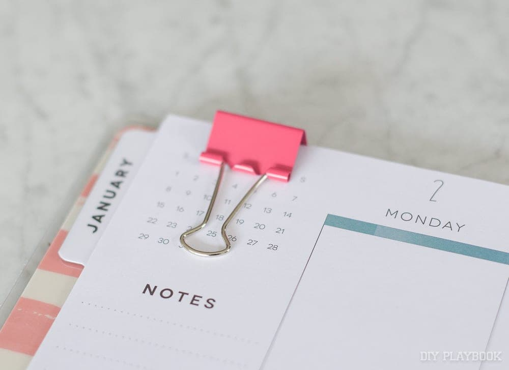 Binder clips throughout the planner will help you all year
