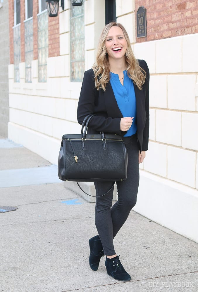 Head to toe- Casey's work wear for your inspiration. A great blazer, skinny work pants, cute and comfy shoes, and a structured bag.