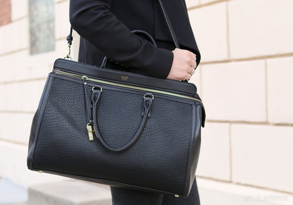 A large, structured bag is the a must have accessory. Hold all your key items in a chic looking piece.