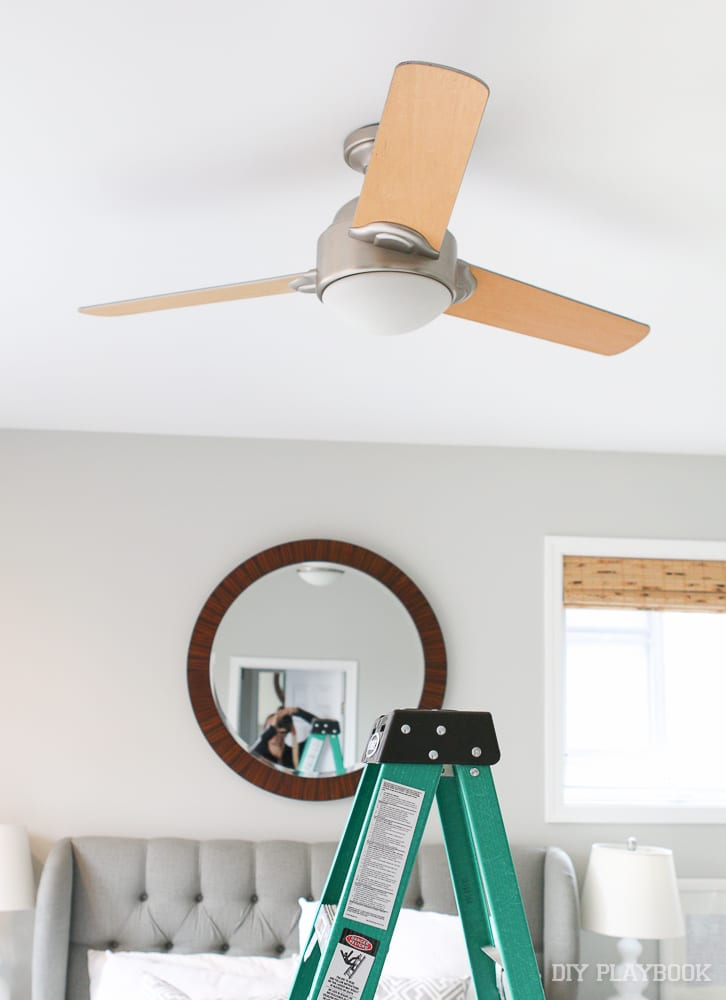The first step when installing a ceiling fan by yourself is to remove the old fan!