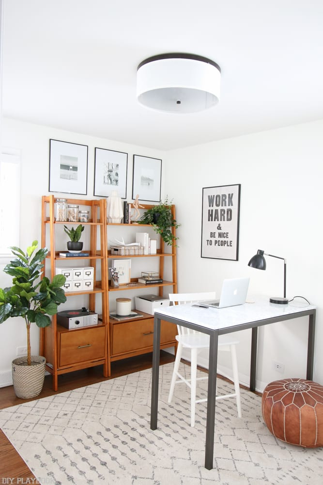 This neutral office design was really a hit! It's super simple. sleek, and the perfect place to own the day and get a ton of stuff done!