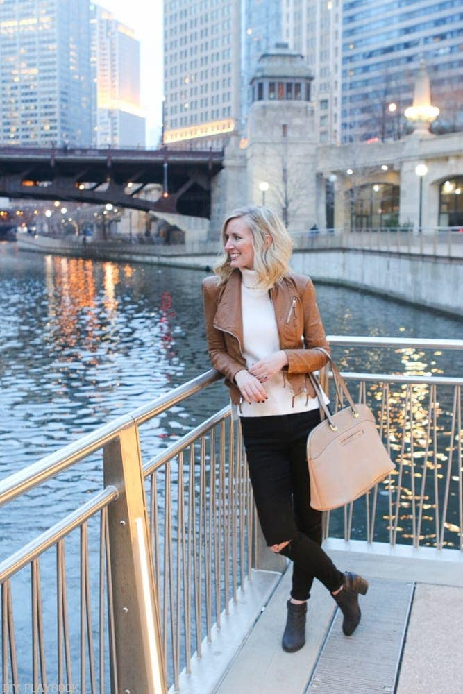 Bridget overlooking the Chicago River at dusk.