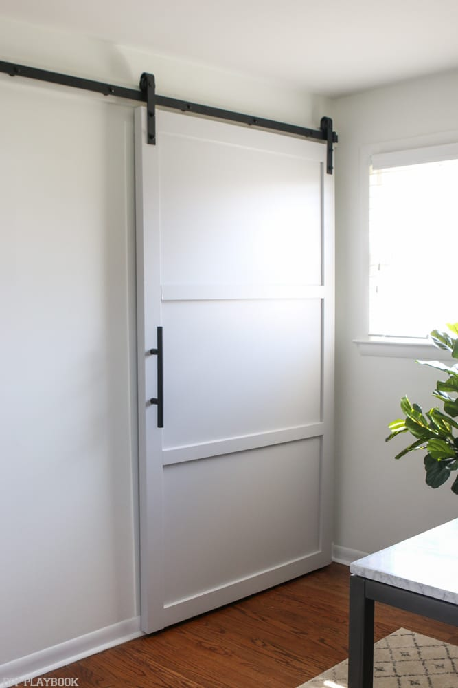 How fun is this design element? I love a sliding door. Way more interesting thatn a regular closet!