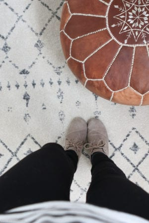 Geometric patterned office rug.