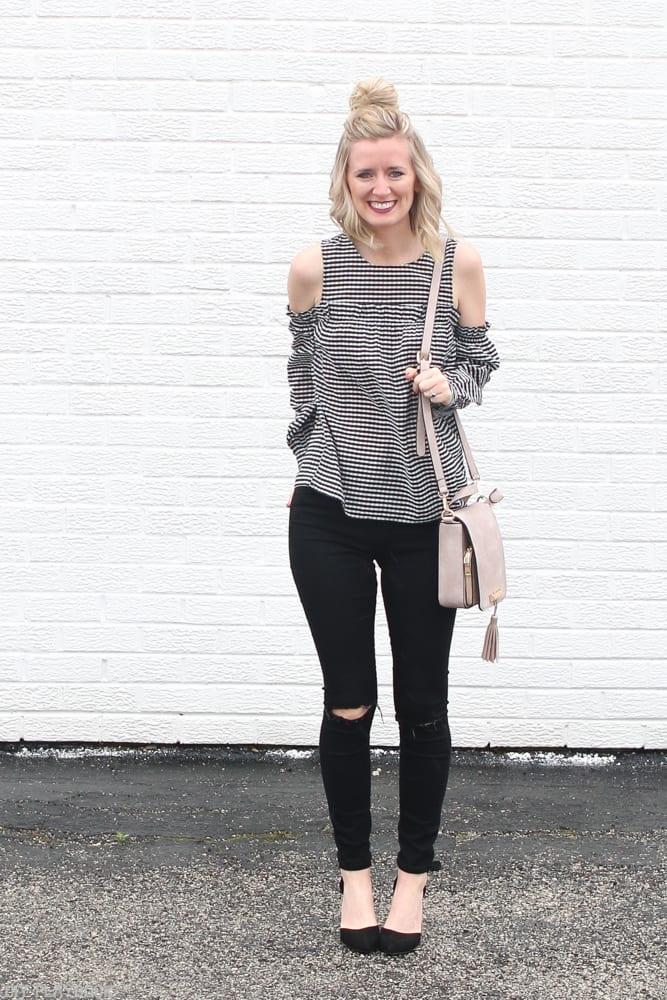 Gingham-cold-shoulder-blouse-fashion-bridget-jeans