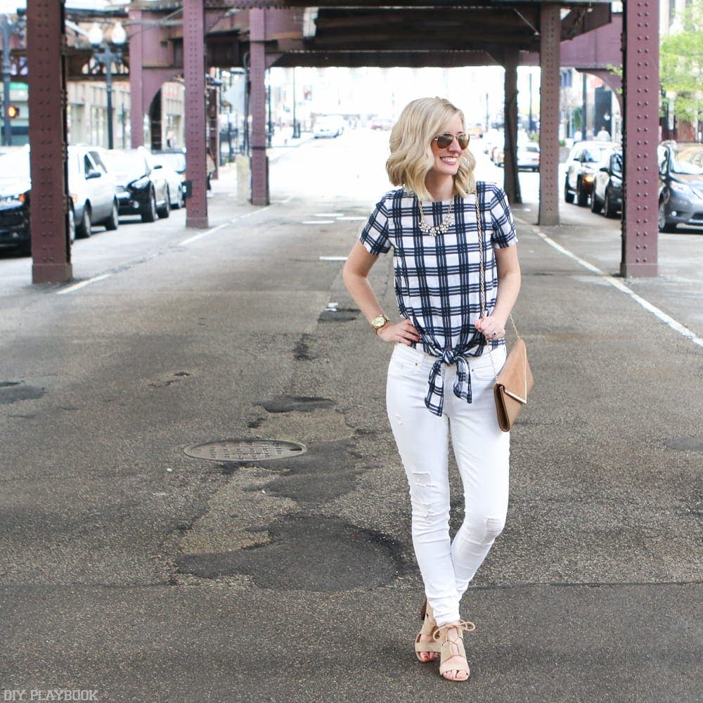 This casual yet chic blue and white plaid top is a new staple item for Bridget.