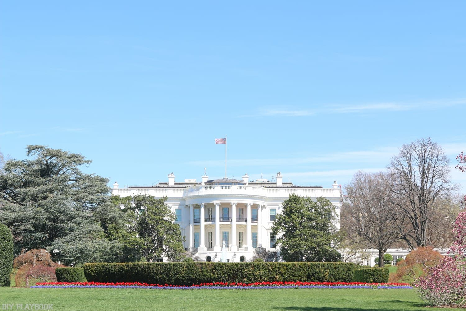 The White House on a spring day in Washington, DC.