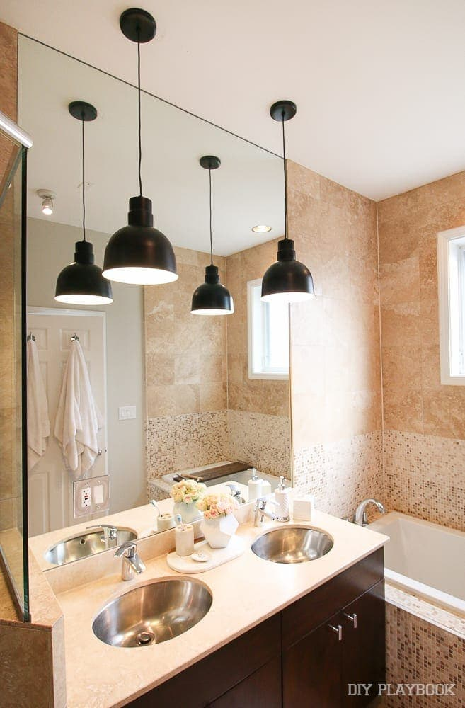 bathroom lighting pendants contemporary pendant lights in our master bathroom the 10923 | bathroom pendant lighting