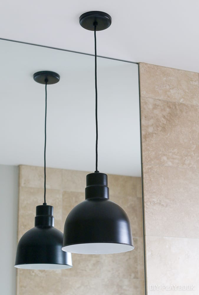 Contemporary pendant lights in our master bathroom the diy playbook black pendant light bathroom aloadofball