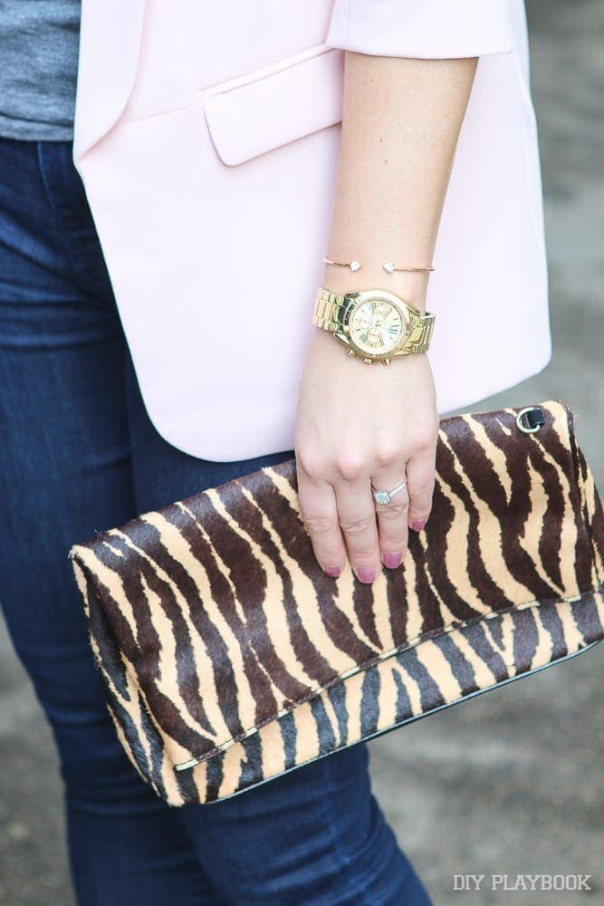 Casey loves minimal jewelry. This watch and wristlet combo is subtle and cute.
