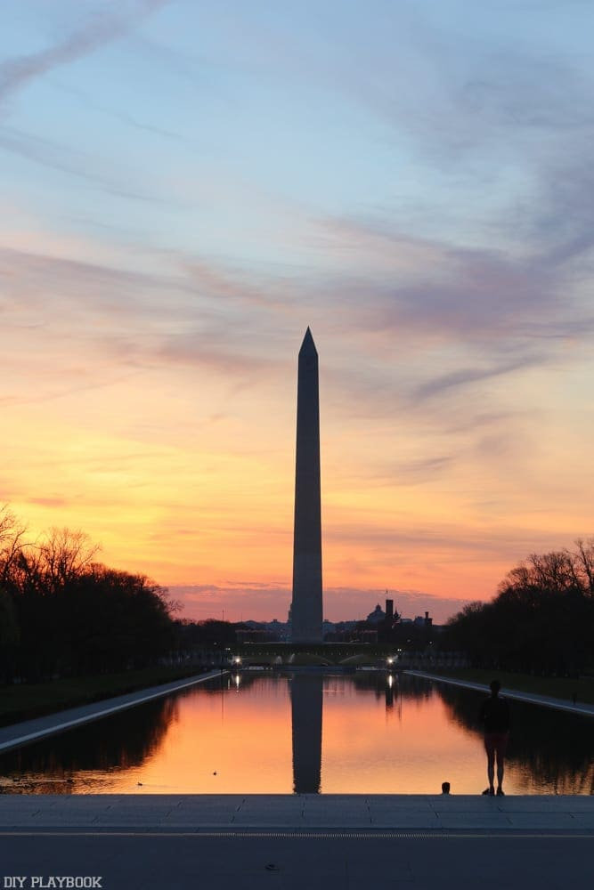 Sunrise above the Washington Monument in DC.