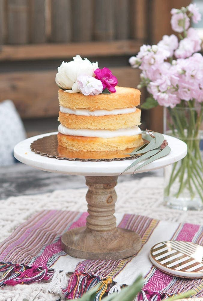 How to Dress up a Store-Bought Naked Cake with Fresh Flowers