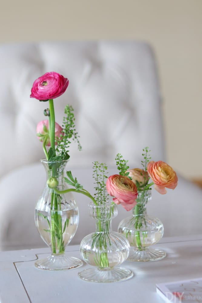 Sweet vases of Ranunculus at Bloom Bash.
