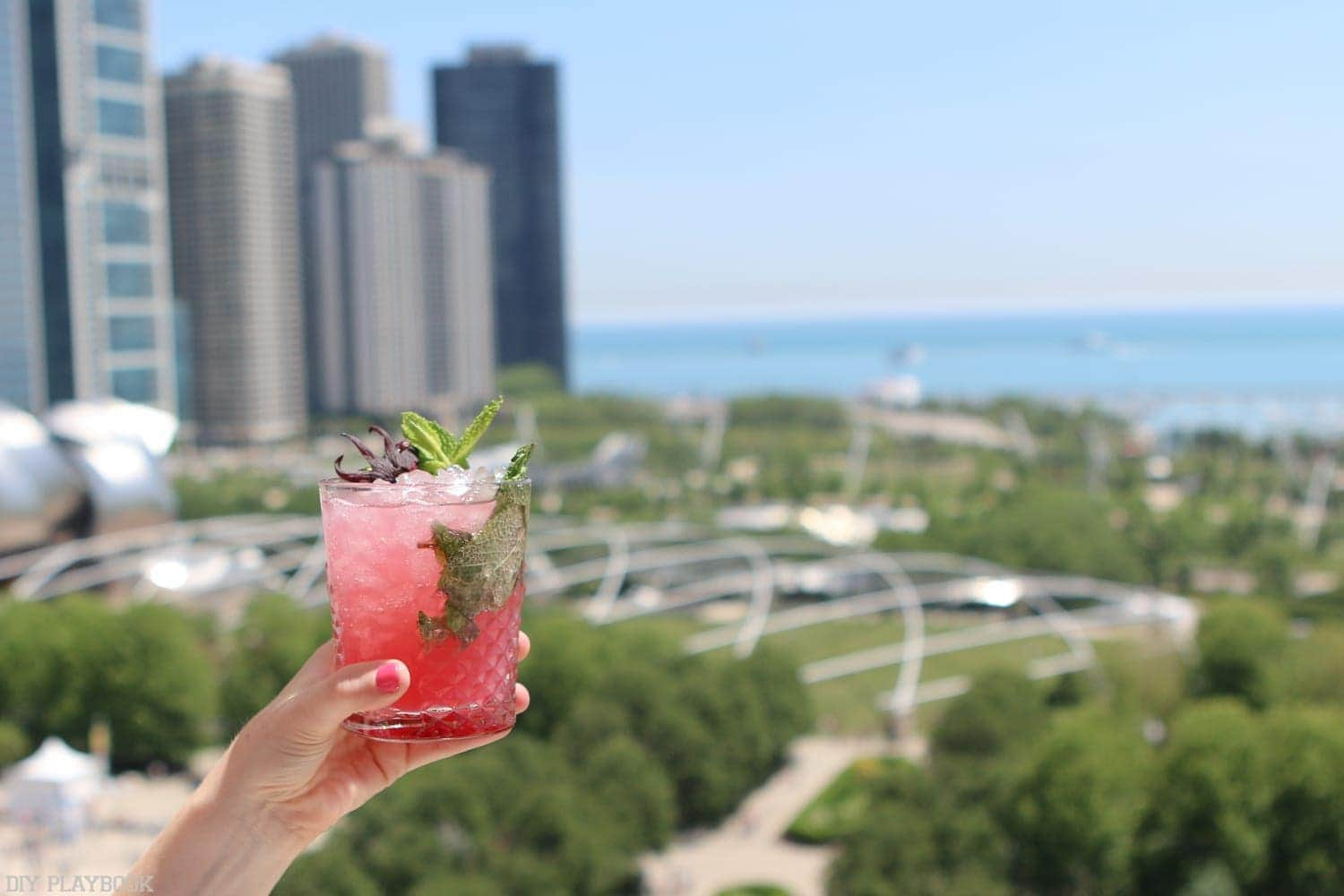 A cocktail on the rooftop of Cindy's overlooking Millenium Park in Chicago