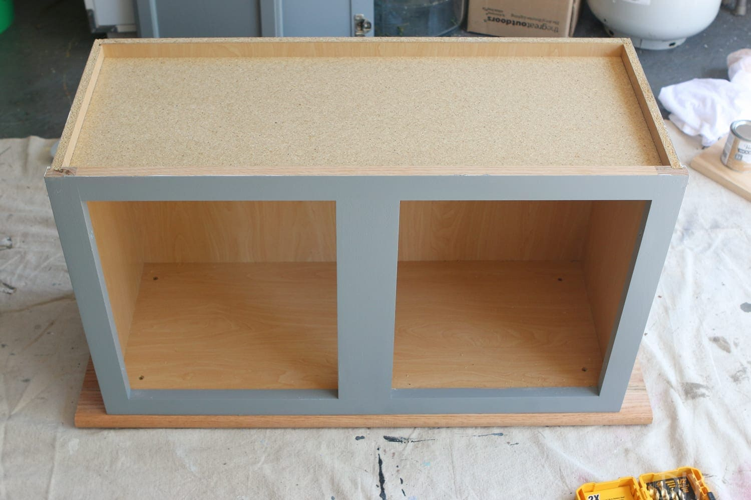 stain and attach wood: DIY Kid's Tool Bench: Step by Step Tutorial | DIY Playbook