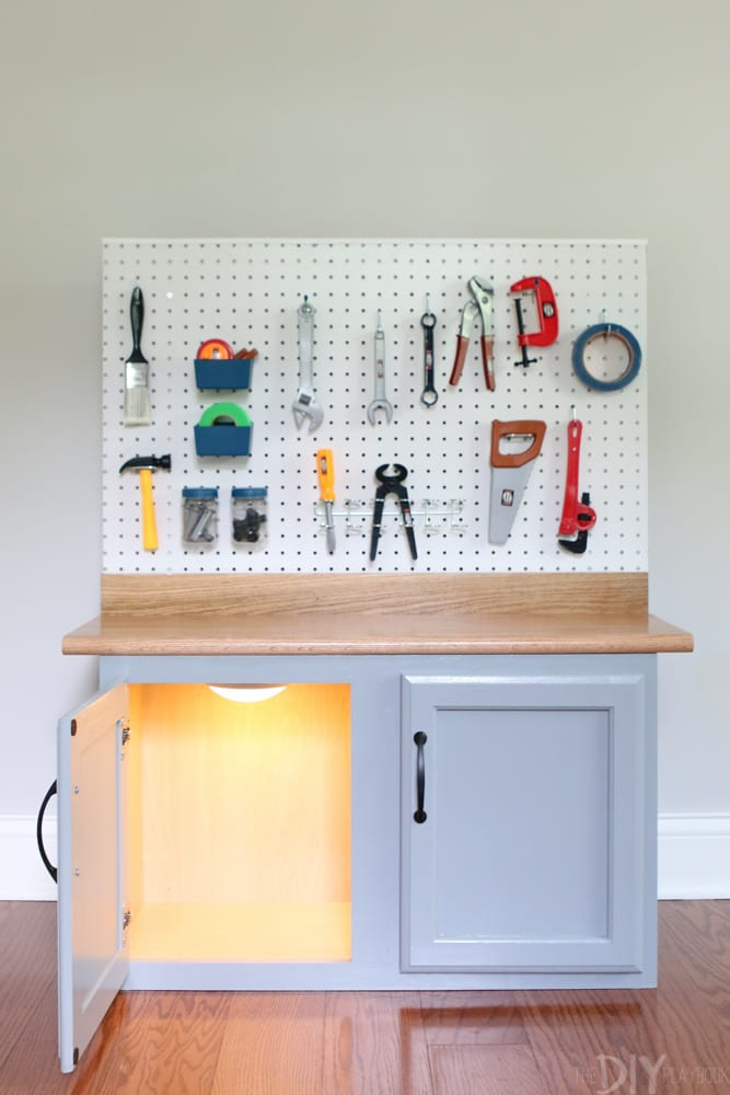 Add tools and light: DIY Kid's Tool Bench: Step by Step Tutorial | DIY Playbook