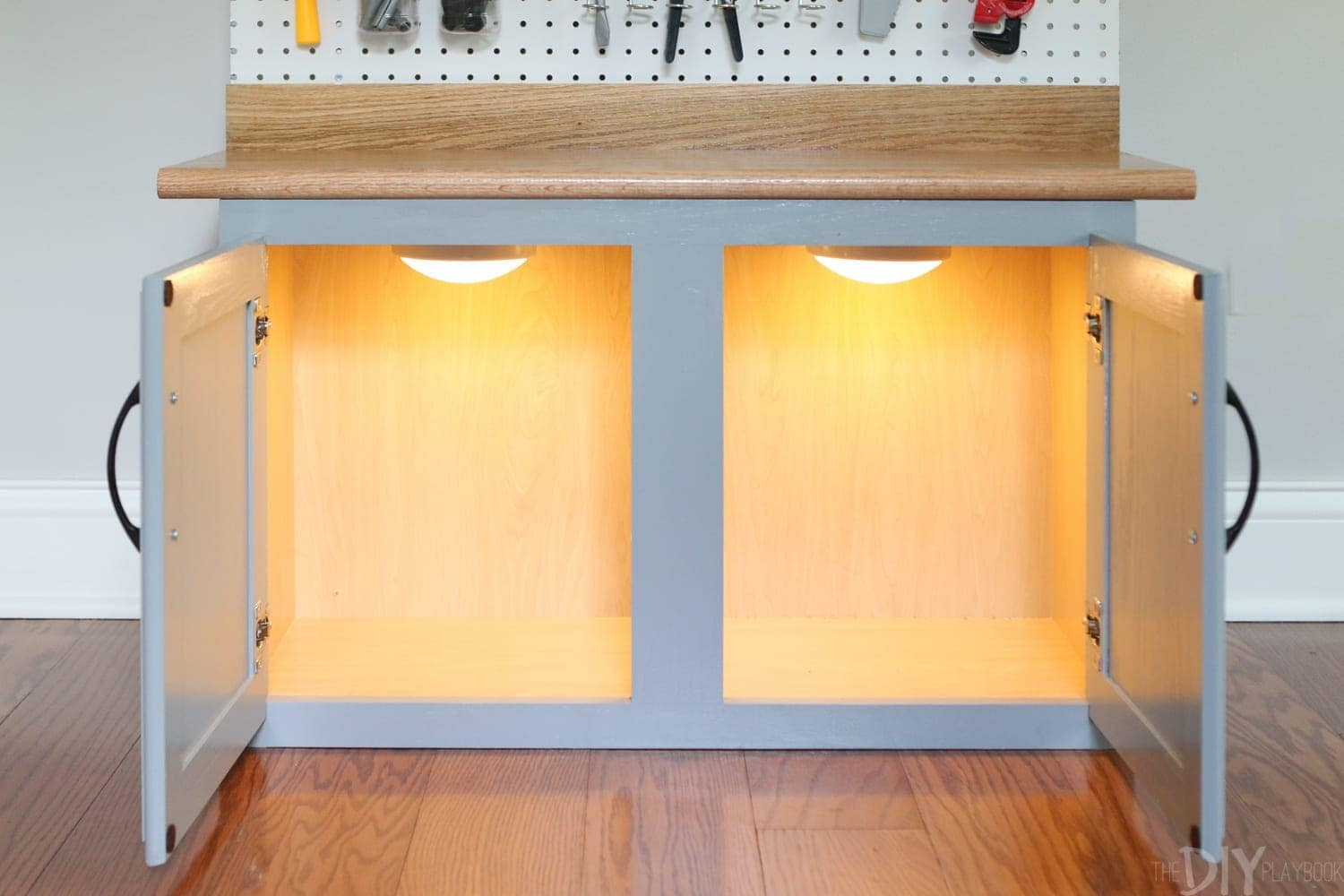 Add the lights: DIY Kid's Tool Bench: Step by Step Tutorial | DIY Playbook