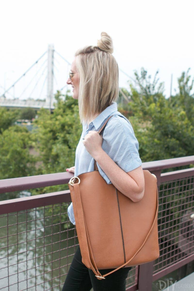 Bridget's crossbody has a shoulder option as well