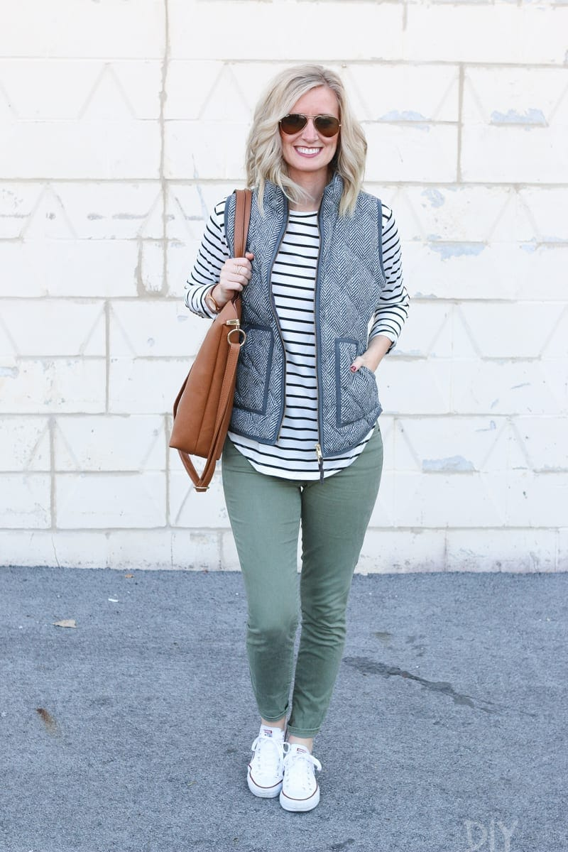 Bridget looks great in this vest and striped shirt - she is way more careful with wardrobe choices now!