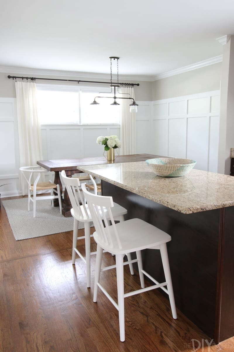 Bridget's small house has an open floor plan between the kitchen and dining room. Love that open feel!