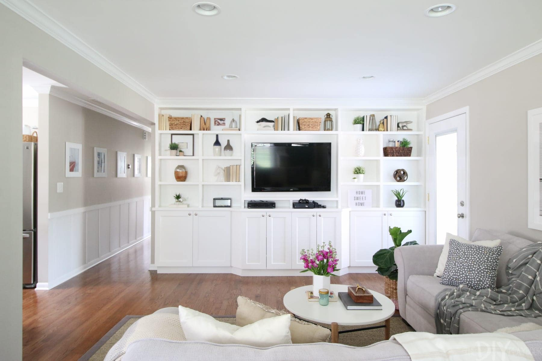 You can't tour Bridget's house without hearing all about her fabulous built-in shelving in the Family ROom!