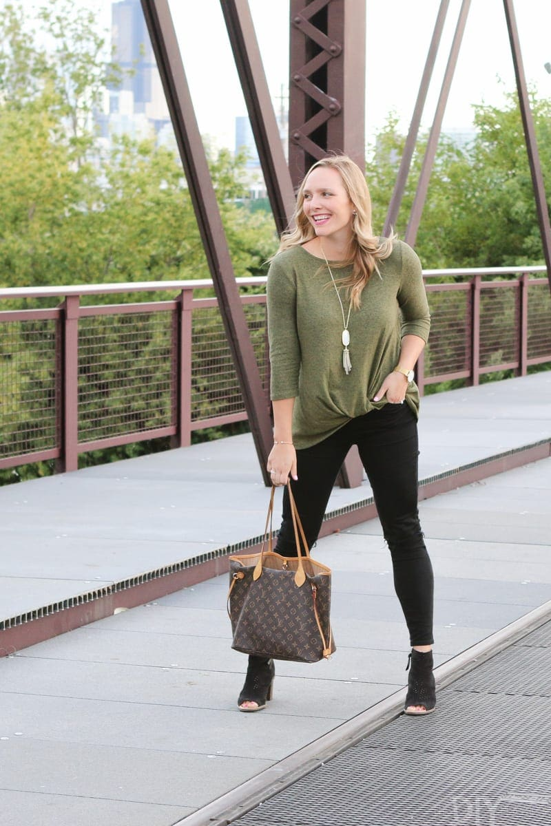 Affiliate links are another way to make money blogging. We could write an aritcle about our favorite fall sweathers - like this green one Casey is wearing - and if someone buys it from the post we make a commission.