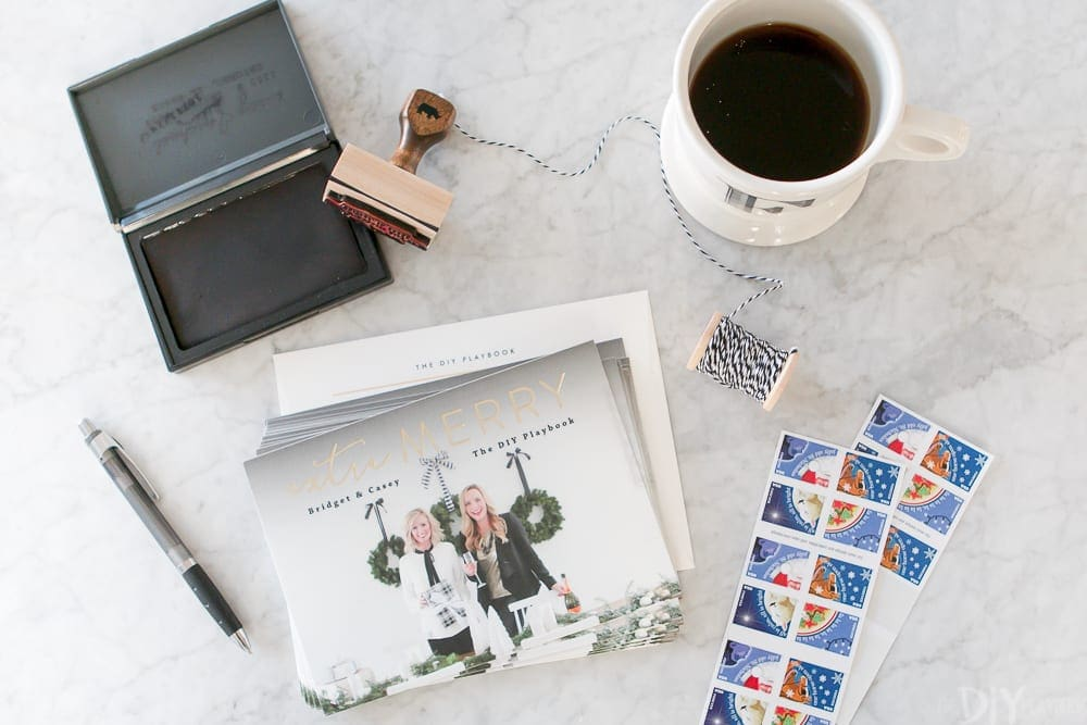 Stamping Christmas cards for the holiday season