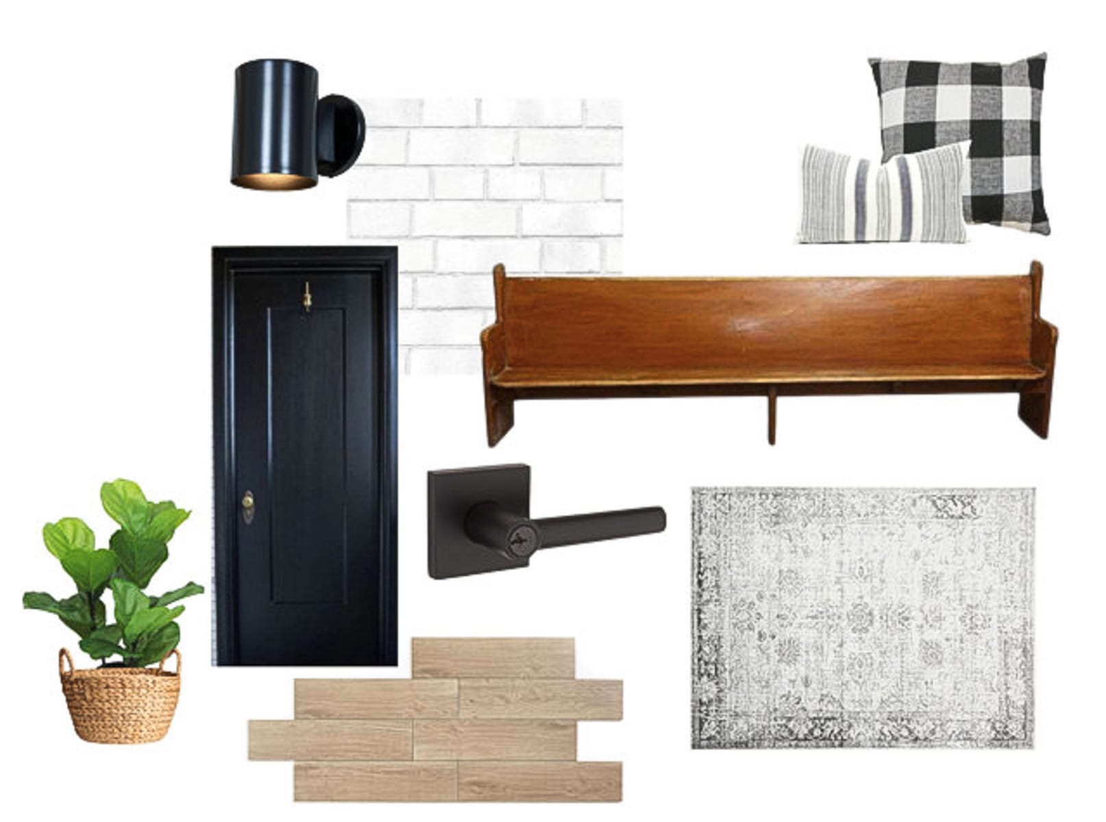 Our design inspiration board for our mudroom area.