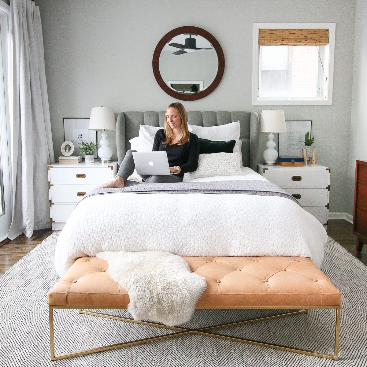 The sierra ivory paddle rug works in this gray bedroom.