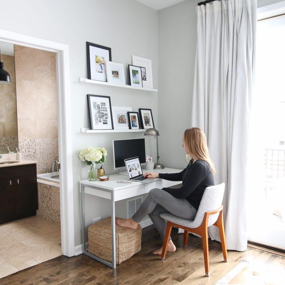 Create a designated work space in your house if you're working from home.