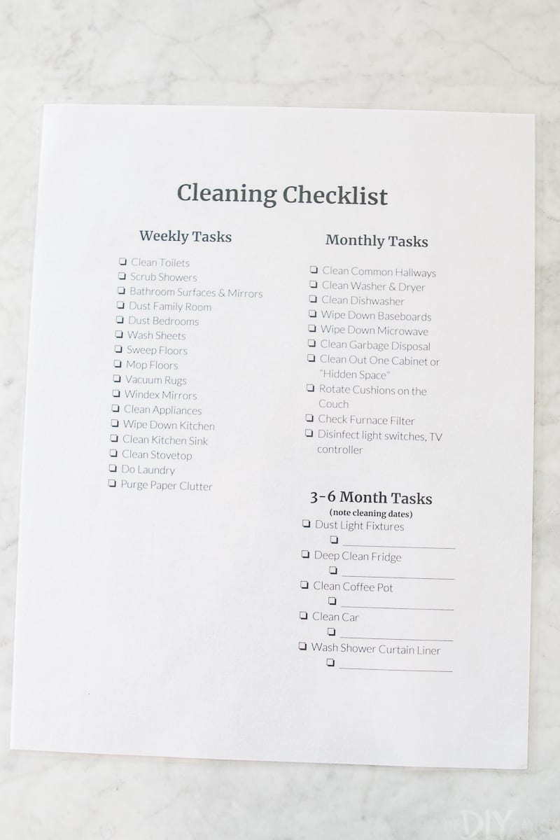 A cleaning checklist to keep your home clean each week, month, and quarterly.