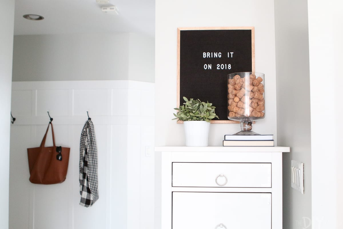 A letterboard and dresser
